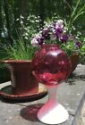 VTG Fenton Cranberry Ruby Overlay  Milk Glass Coin Dot Footed Ivy Ball Vase