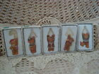 RUSS BERRIE SET OF 5 ADORABLE TEDDY BEAR CHRISTMAS ORNAMENTS NEW IN BOXES
