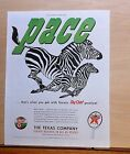1949 magazine ad for Texaco - get Pace from Texaco gas, two zebras racing