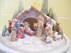 NIB Enesco Christmas Lighted Nativity Scene Figures w Globe Cover by Karen Hahn