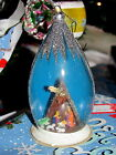 Vtg DIORAMA NATIVITY SCENE in Glitter GLOBE German Glass Christmas Ornament