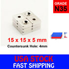 N35 Countersunk Block Strong Magnets Rare Earth Neodymium Hole Various Sizes