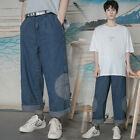 Mens Vintage Baggy Wide leg Jeans Denim Loose Cargo Overall Flared Pants Trouser