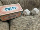 NIB Streamline Porcelain Owlet Salt Pepper Shakers Set Owls