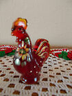 FENTON HAND PAINTED FLOWERS RUBY THE LITTLE RED MINI MINIATURE ROOSTER FIGURINE