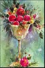 Vintage Christmas Card Goblet with Pastel Ornaments Sprigs of Evergreen UNUSED