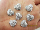 DIY 20PCS Sliver Resin Heart flatback Scrapbooking for phone wedding craft D32A