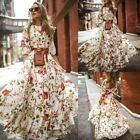 Women Ladies Boho Vintage Maxi Dress Holiday Long Sleeve Evening Party Cocktail