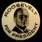 FDR BADGE Political PinBack PRESIDENT ROOSEVELT PIN Button 1932 Hoover Campaign