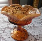 Vintage Fenton Hand Made Tokyo Pattern Amber Glass Ruffled Pedestal Compote