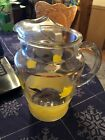 Vintage Mid Century Clear Glass Hand Painted Lemonade / Iced Tea Pitcher !