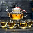 CoreLife Glass Tea Set 4 Borosilicate Glass Cups and Saucers with Infuser Pot
