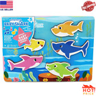 Kid Baby Shark Chunky Colored Wooden Sound Puzzle Toddlers Educational Game Play