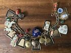 Vintage Victorian Gold Filled 27 Charm Bracelet Cameo Puffy Heart Locket 62+G