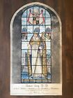 Antique 1800s Stained Glass Hand Coloured Etching Print Oxford Bishop 1557 Arch