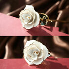 24K Gold Dipped Trim Long Stem Rose Flower Glass Valentine Mothers Day Lover