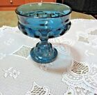 Vintage Indiana Thumbprint Blue Glass Compote/Candy Dish Very Good Condition