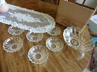 Vintage 7 Piece Hazel Atlas Desert Berry Bowl Set ~Clear Glass ~ Colonial Swirl