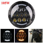 Black 7 Round 105W LED Headlight Halo DRL For Jeep Wrangler JK TJ CJ Motorcycle