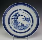 11 1 2 Antique Chinese Export Blue White Deer Tree House Scroll Round Bowl SBM