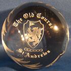 St Andrews Old Course Etched Round Dome 3 Golf Paperweight Edinburgh Crystal