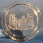 DROMOLAND CASTLE ETCHED ROUND CRYSTAL PAPERWEIGHT BY BRIAN MICHAEL BEAUTIFUL