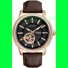 NEW - Bulova Men's Automatic Watch 45mm - Brown Leather Strap - Rose Gold Case