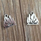 Wholesale 6pcs Tibet silver Flame Necklace Charm Pendant beads Jewelry Making