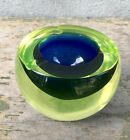 Vintage 60s Murano Cenedese Sommerso Uranium Green Yellow Blue Ashtray Bowl WOW