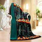 Southwestern Navajo Print Silk Touch Sherpa Lined Native American Throw Green