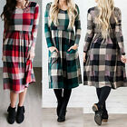 Women Long Sleeve Check Plaid Ladies Casual Button Down Long Shirt Midi Dress US