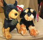 RARE TY Beanie Babies-(2) Dobermans-LUCA (Garfield)& Brutus (2 French tags) MWMT