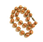 Vintage Copper Blown Glass Oval Bead Necklace
