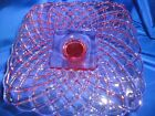 LE Smith Pink Glass Pedestal Square Cake Stand Plate Trellis Handmade in U.S.A.!