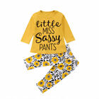 2Pcs Toddler Kids Baby Girl Summer Clothes T shirt Tops+Floral Pants Outfits Set