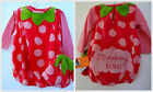 Infant Girls 12 Mo Pink Strawberry Kisses 3 Pc Tee Vest Beanie Dress Up Costume