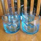 Turquoise Blue Seagull Low Ball Glasses MCM Retro Bird Drinking Set Of 4
