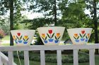 Vintage Fire King Pyrex Tulip Nesting  Bowls Set Of 3 Anchor Hocking