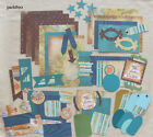 Premade Pages Mat Set Kit Scrapbooking Paper Pieces Vacation Travel Album Layout