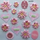 Handmade Paper Pieces 16 Scrapbooking Card Tag Embellishments Flowers Hearts
