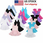 US Girls Gymnastics Ballet Dress Kids Leotard Tutu Skirt Dance Ballerina Costume