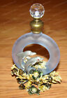 Dolphin Sea Turtles Blue Glass Perfume Bottle 3602 Pewter Baked Enamel