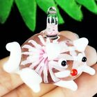 44x41x18mm Carved Pink Inlaid Lampwork Glass Lovely Cat Pendant Bead D43148