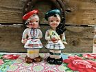 Vintage Scottish Boy and Girl Bagpipes Figural Novelty Salt and Pepper Shakers
