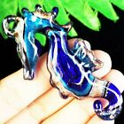 Carved Blue Gold Inlaid Lampwork Glass Hippocampi Pendant Bead D43247