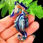 Carved Royal Blue Inlaid Lampwork Glass Sea Horse Pendant Bead S45521