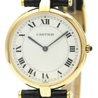 Polished CARTIER Must 18K Gold Leather Quartz Ladies Watch BF500048