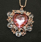 Pink Clear Crystal Rhinestone Flower Heart Pendant Betsey Johnson Long Necklace