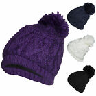 Polar Extreme Women's Insulated Thermal Hats Slouchy Cable Knit Pom Pom Beanie