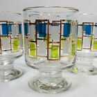 Libbey Nordic Pedestal Glasses 22K Gold Trim  4 Piece Green Blue Vintage 3.5